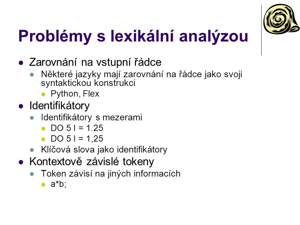 Problémy s lexikální analýzou