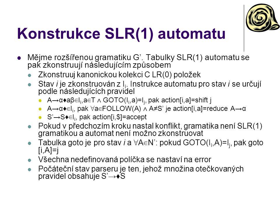 Konstrukce SLR(1) automatu