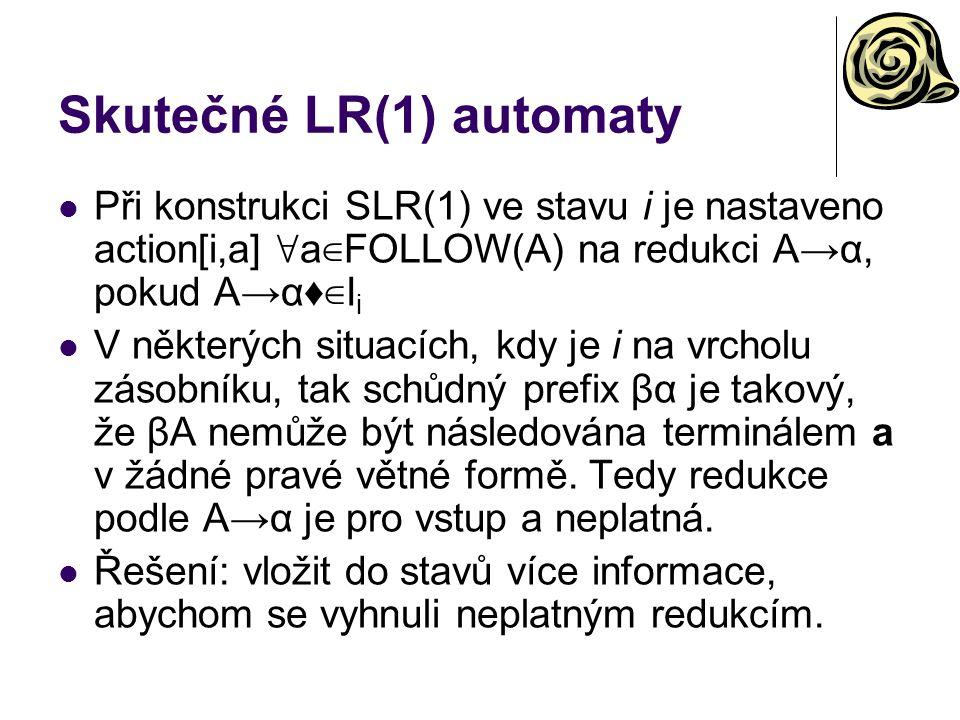 Skutečné LR(1) automaty