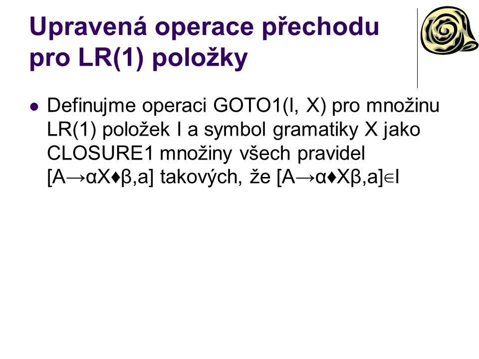 Upravená operace přechodu pro LR(1) položky