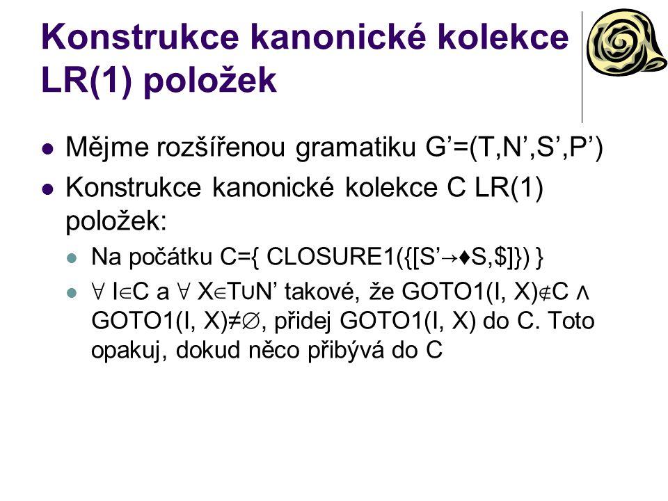 Konstrukce kanonické kolekce LR(1) položek