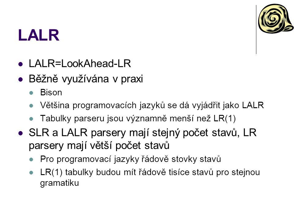 LALR LALR=LookAhead-LR Běžně využívána v praxi