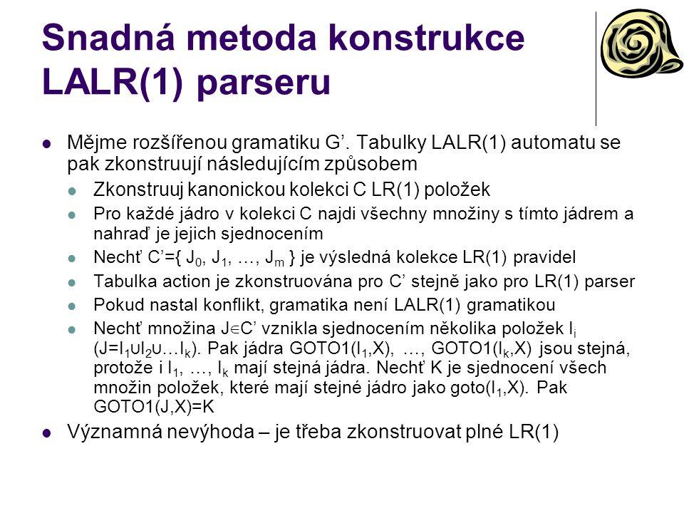 Snadná metoda konstrukce LALR(1) parseru