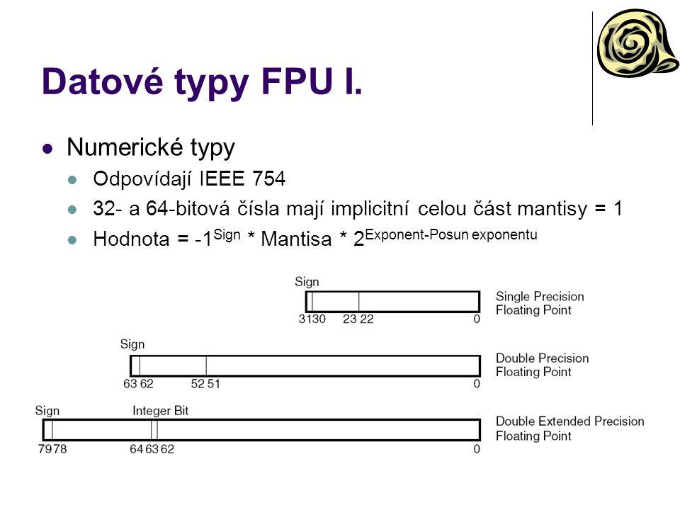 Datové typy FPU I. Numerické typy Odpovídají IEEE 754
