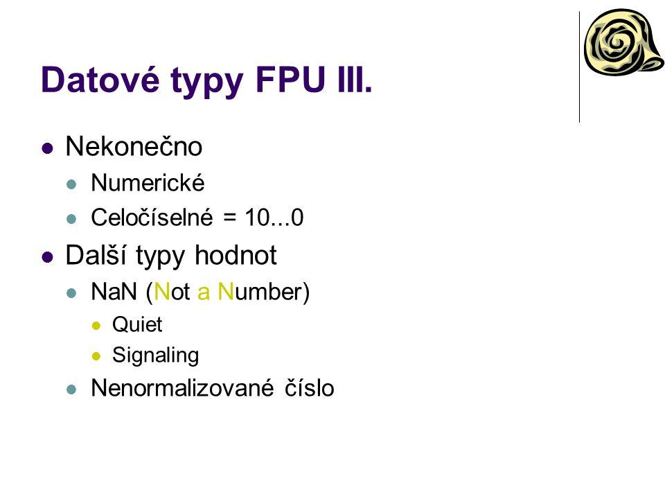 Datové typy FPU III. Nekonečno Další typy hodnot Numerické