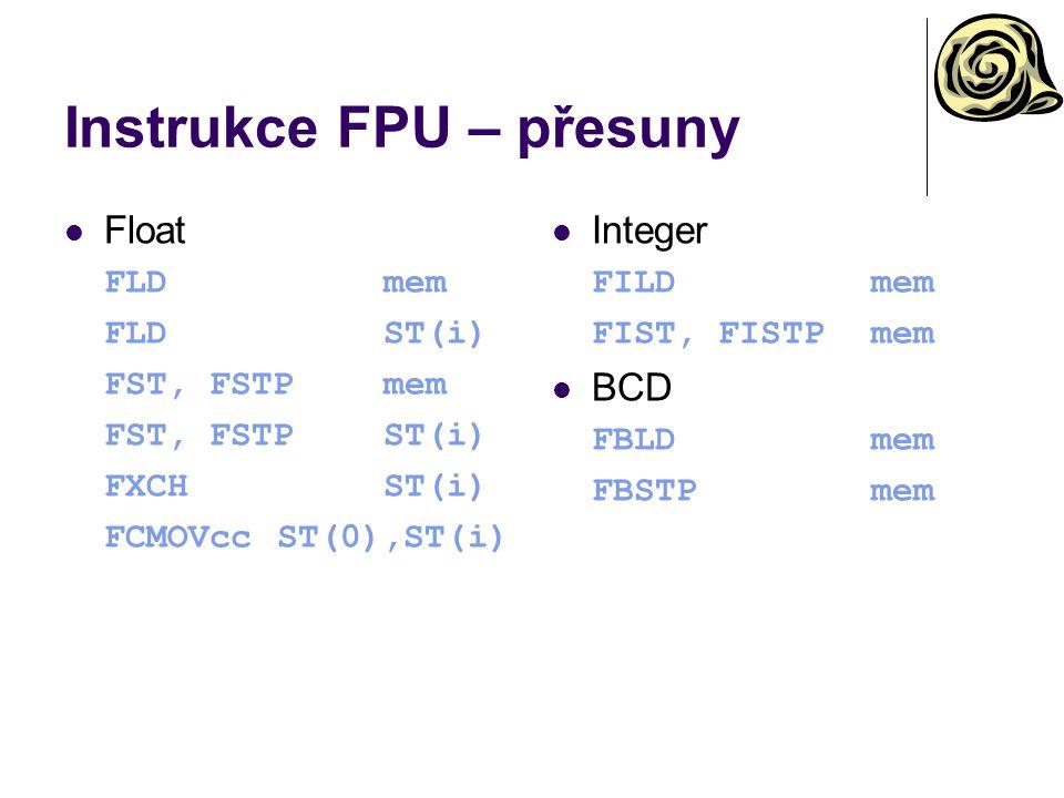 Instrukce FPU – přesuny