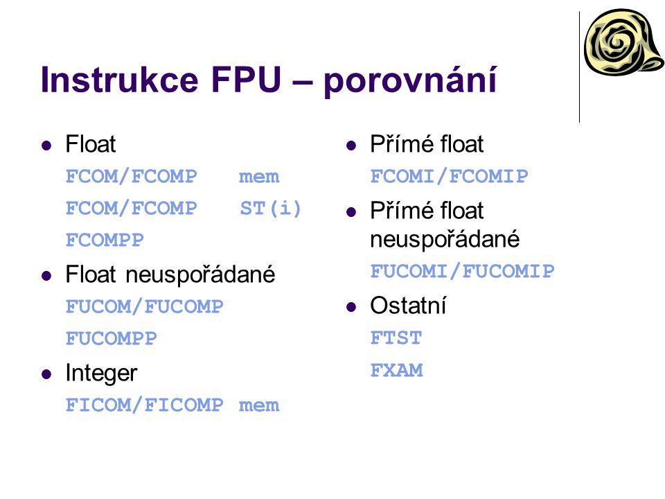 Instrukce FPU – porovnání