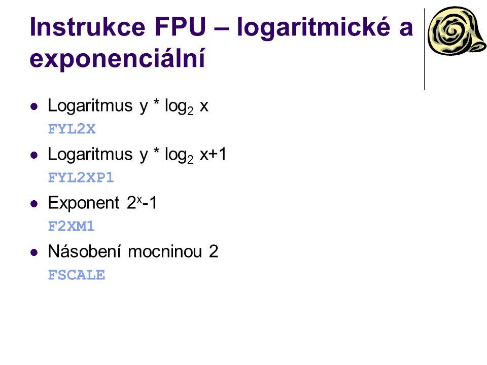 Instrukce FPU – logaritmické a exponenciální