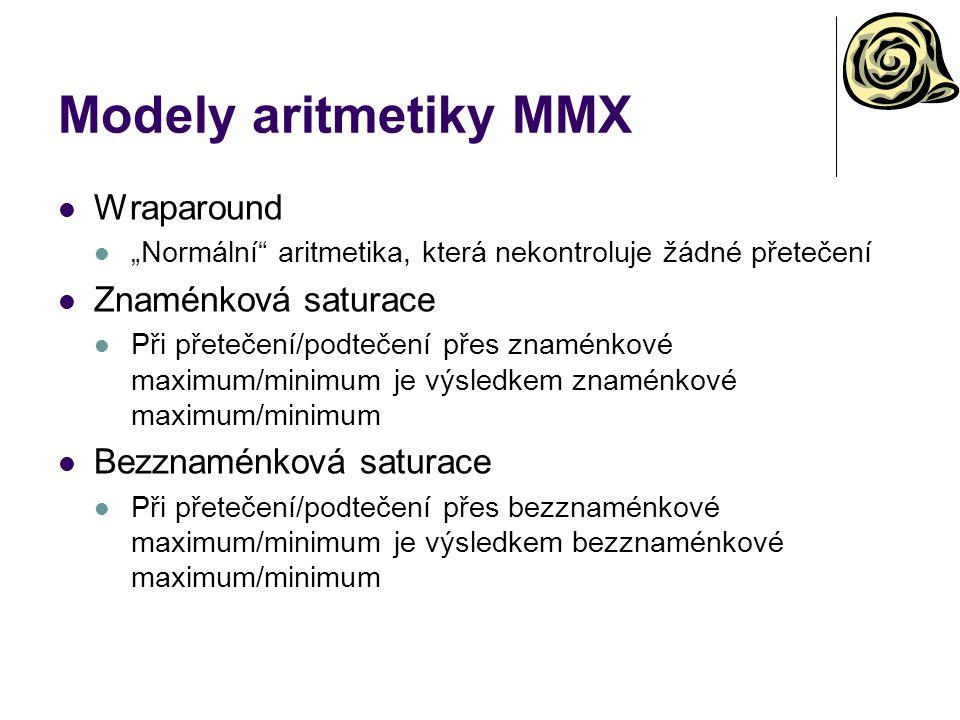 Modely aritmetiky MMX Wraparound Znaménková saturace