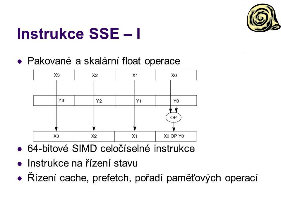 Instrukce SSE – I Pakované a skalární float operace