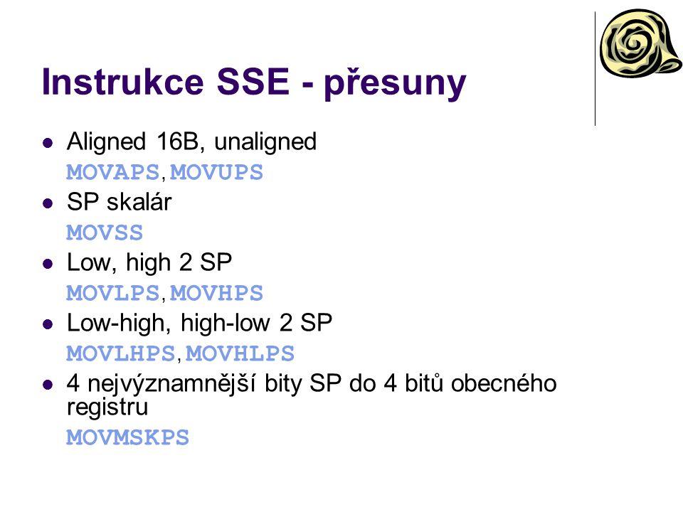 Instrukce SSE - přesuny