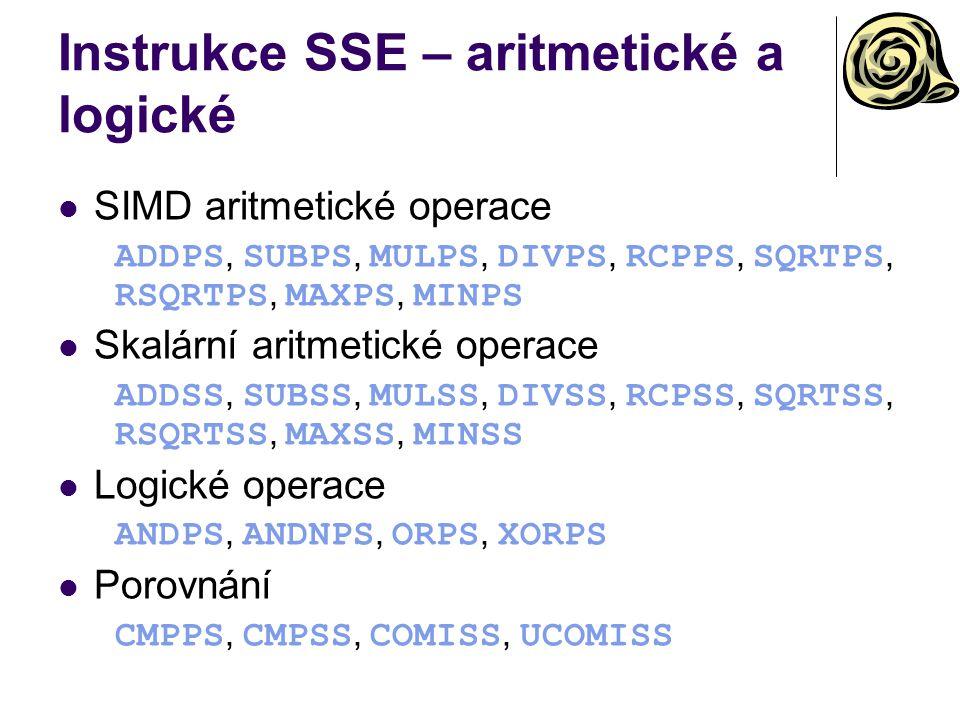 Instrukce SSE – aritmetické a logické
