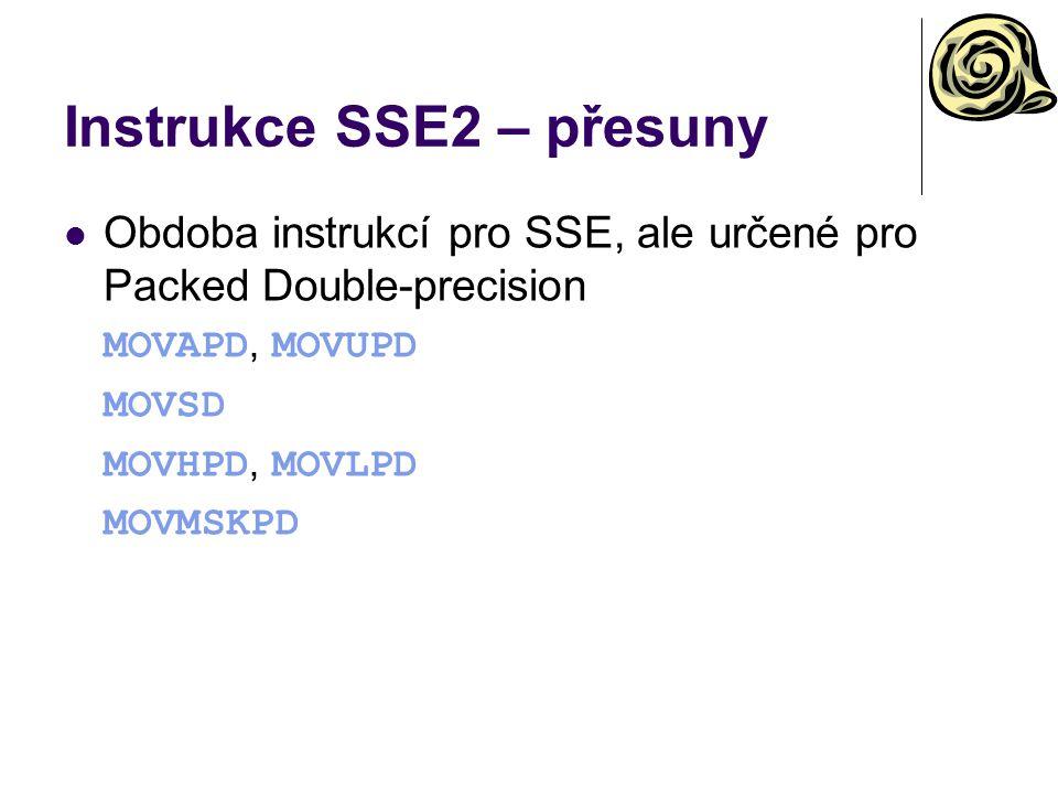 Instrukce SSE2 – přesuny