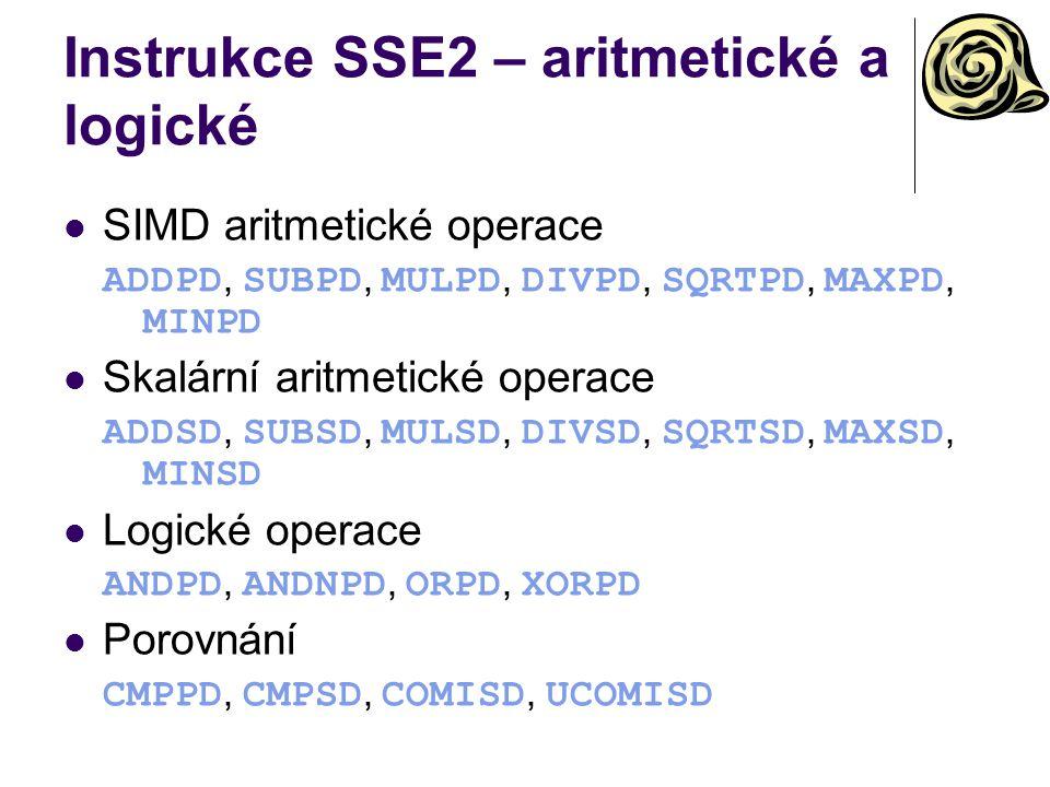 Instrukce SSE2 – aritmetické a logické