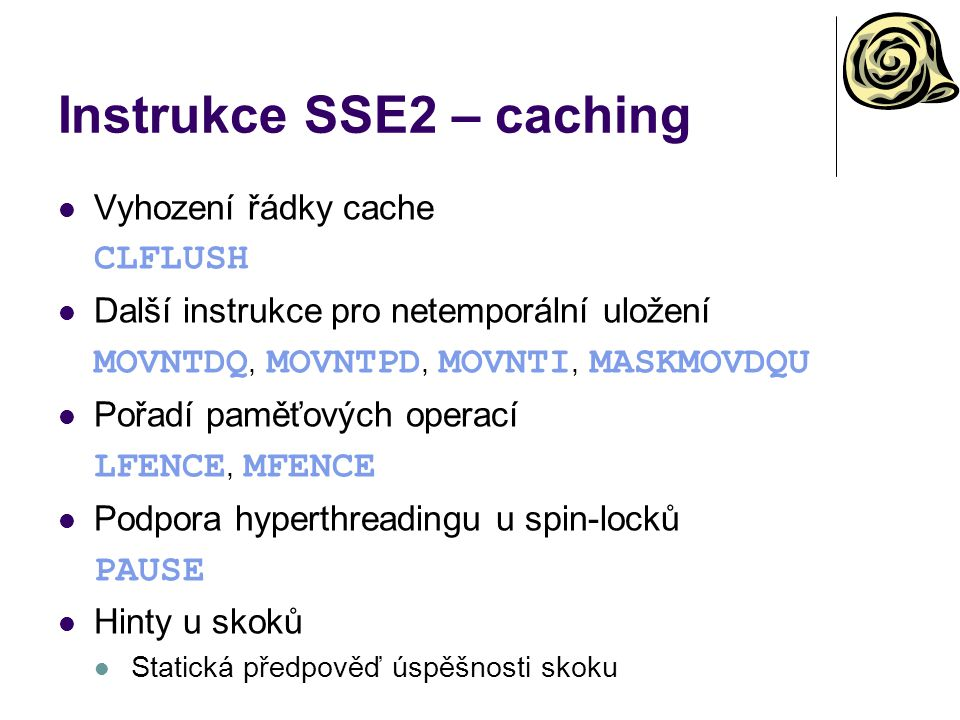Instrukce SSE2 – caching