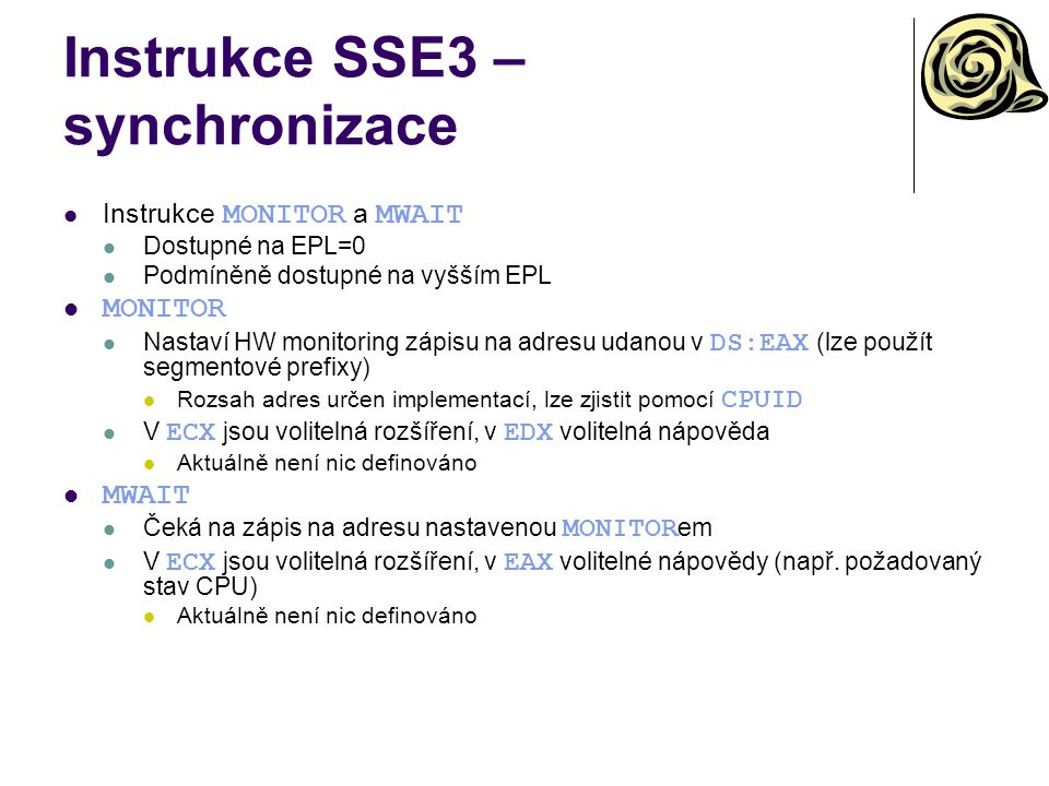 Instrukce SSE3 – synchronizace