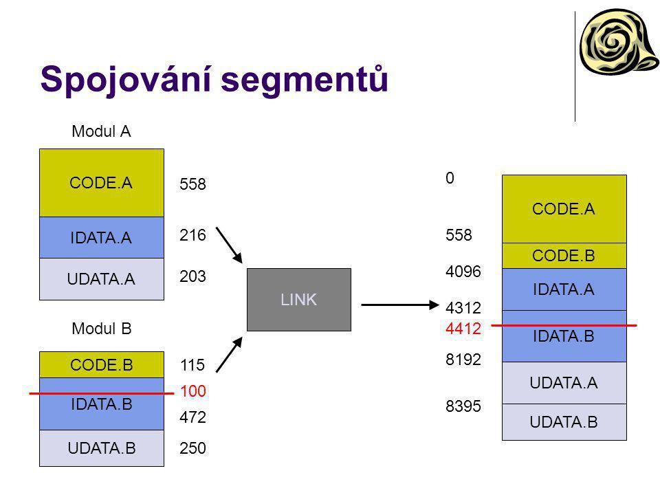 Spojování segmentů Modul A CODE.A 558 CODE.A IDATA.A 216 558 CODE.B