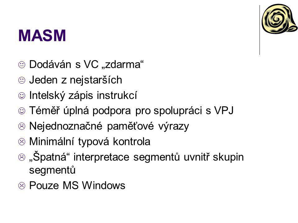 """MASM Dodáván s VC """"zdarma Jeden z nejstarších"""