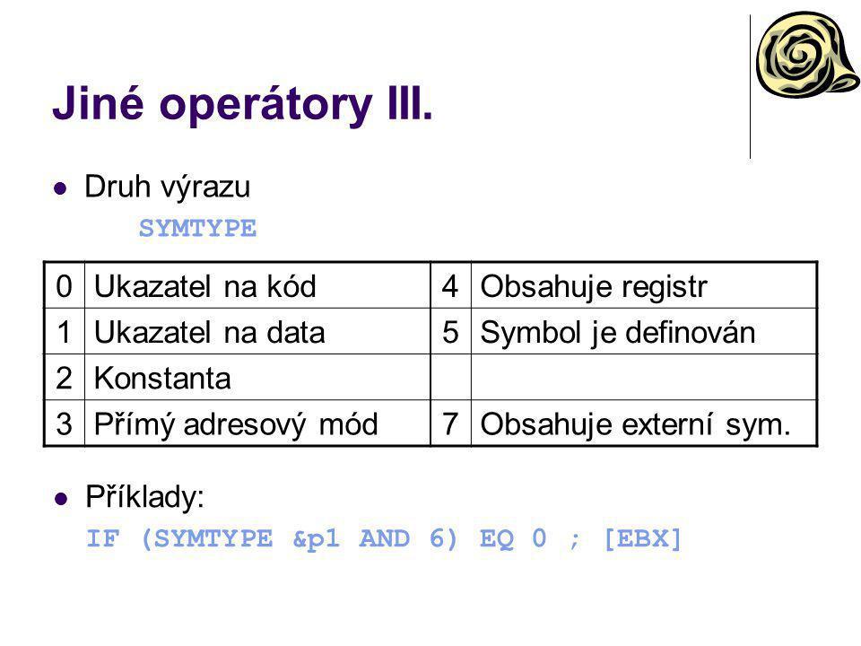 Jiné operátory III. Druh výrazu Ukazatel na kód 4 Obsahuje registr 1