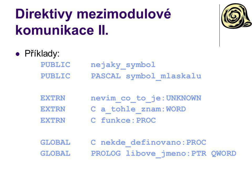 Direktivy mezimodulové komunikace II.