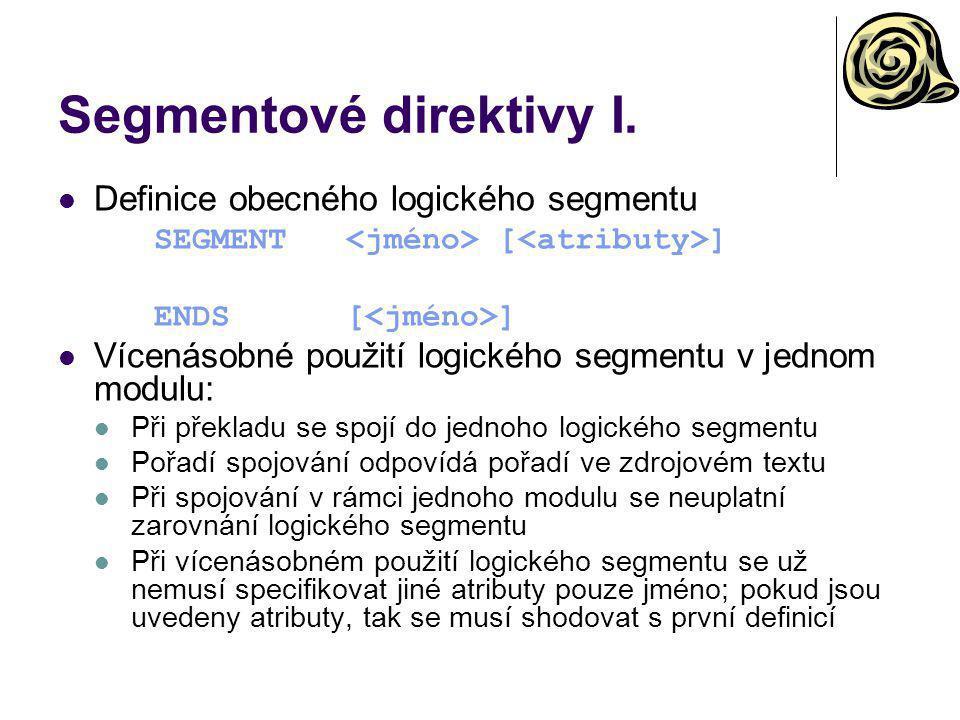 Segmentové direktivy I.
