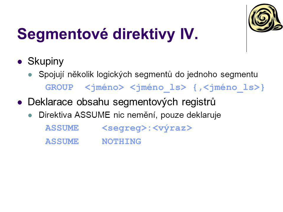 Segmentové direktivy IV.