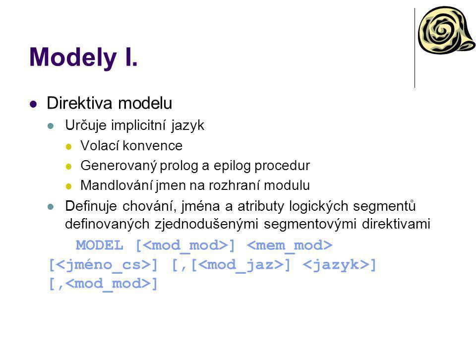 Modely I. Direktiva modelu