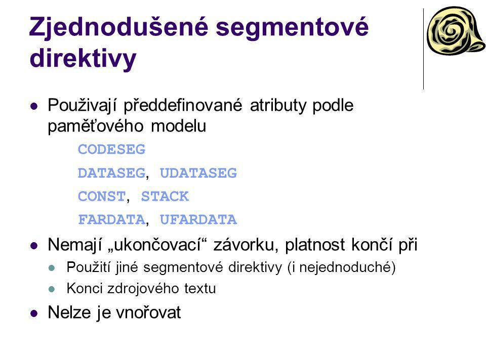 Zjednodušené segmentové direktivy