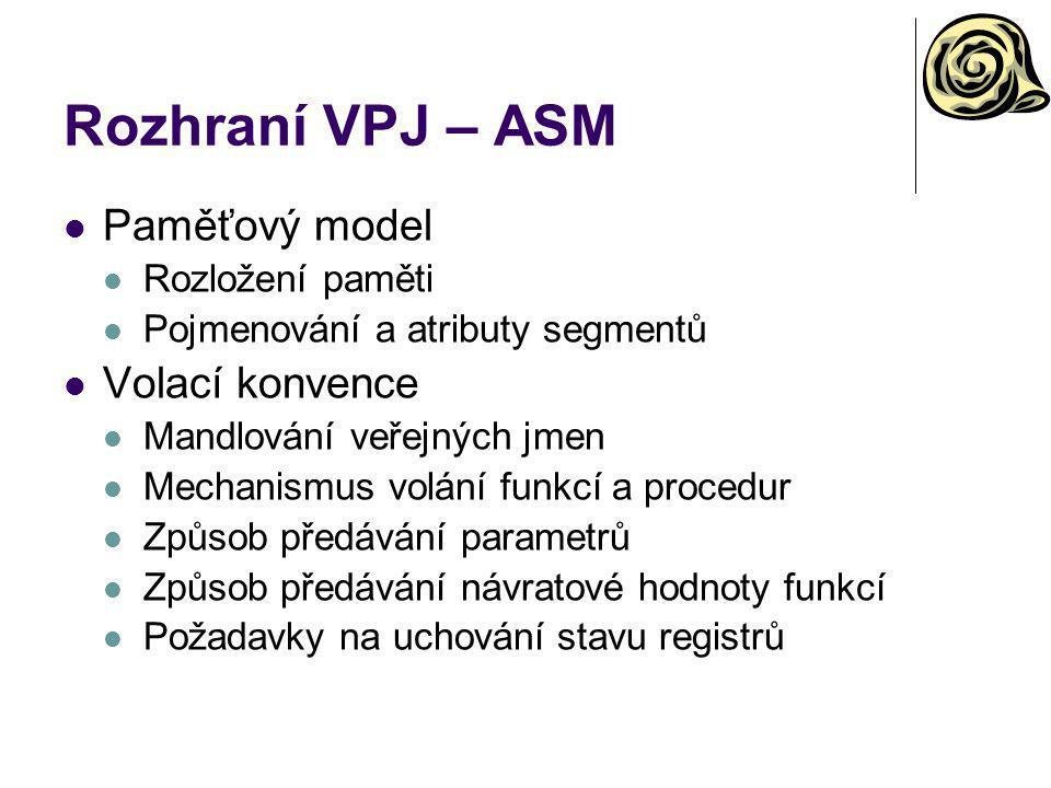 Rozhraní VPJ – ASM Paměťový model Volací konvence Rozložení paměti