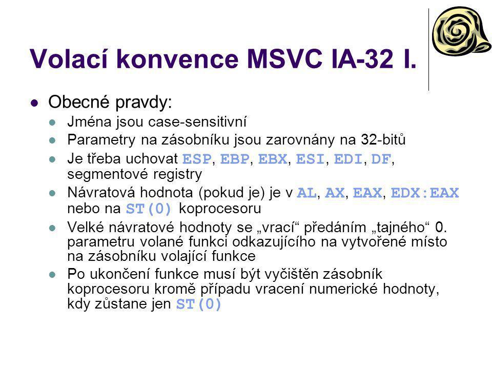 Volací konvence MSVC IA-32 I.