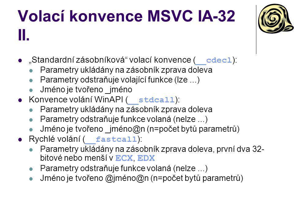 Volací konvence MSVC IA-32 II.
