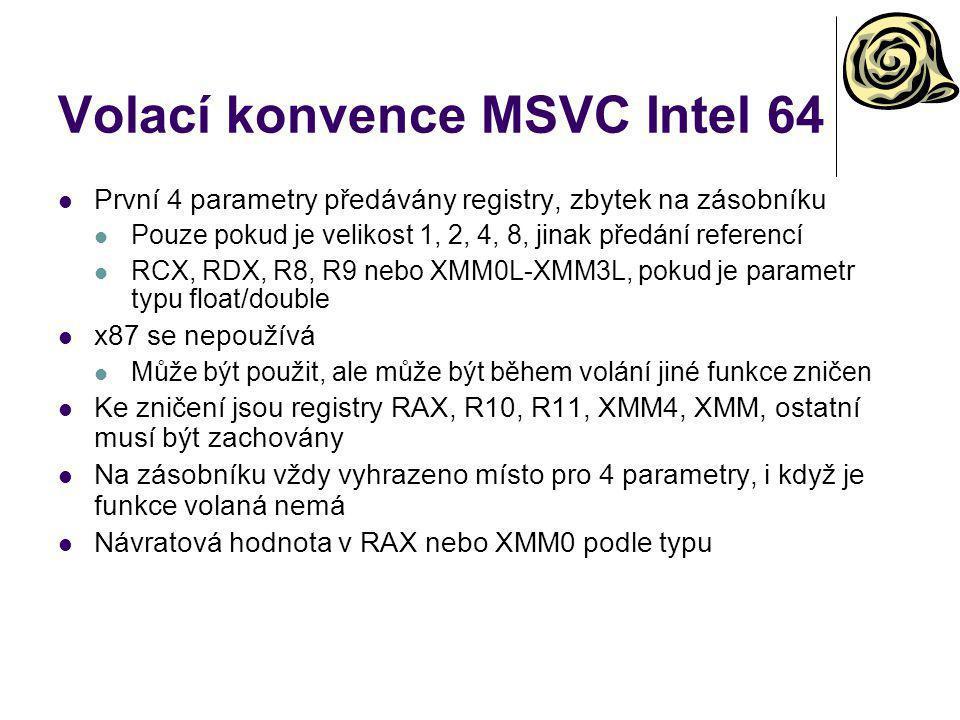 Volací konvence MSVC Intel 64