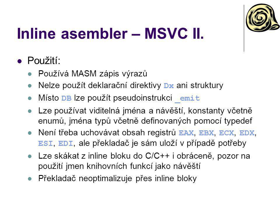 Inline asembler – MSVC II.