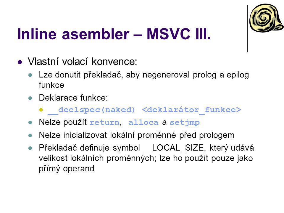 Inline asembler – MSVC III.