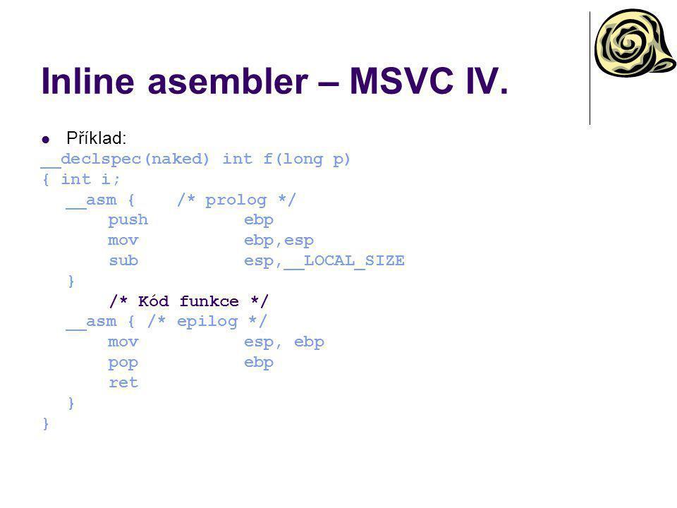 Inline asembler – MSVC IV.