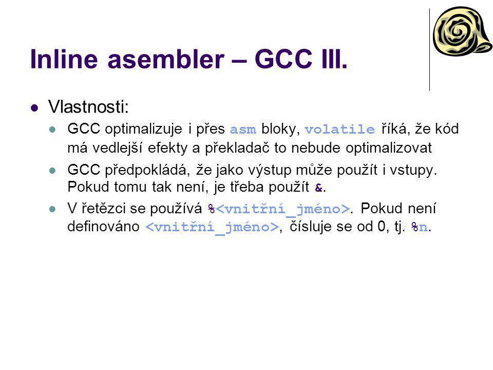 Inline asembler – GCC III.