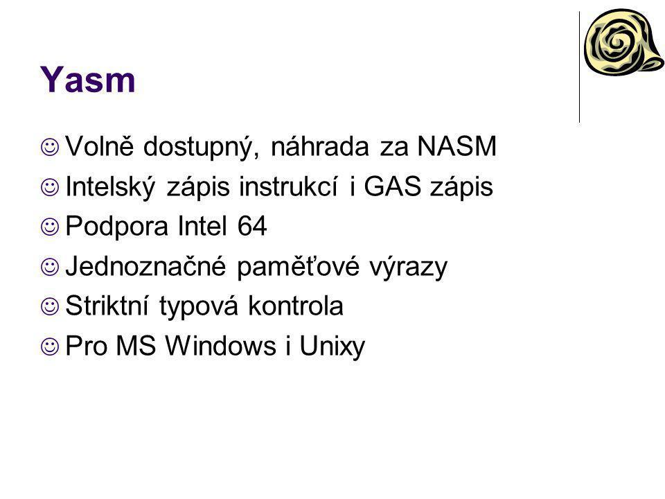 Yasm Volně dostupný, náhrada za NASM