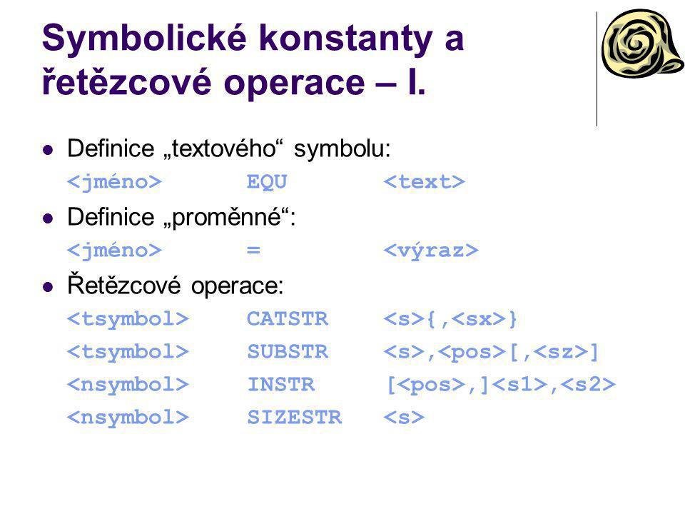 Symbolické konstanty a řetězcové operace – I.