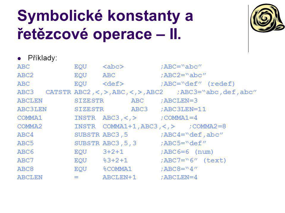 Symbolické konstanty a řetězcové operace – II.