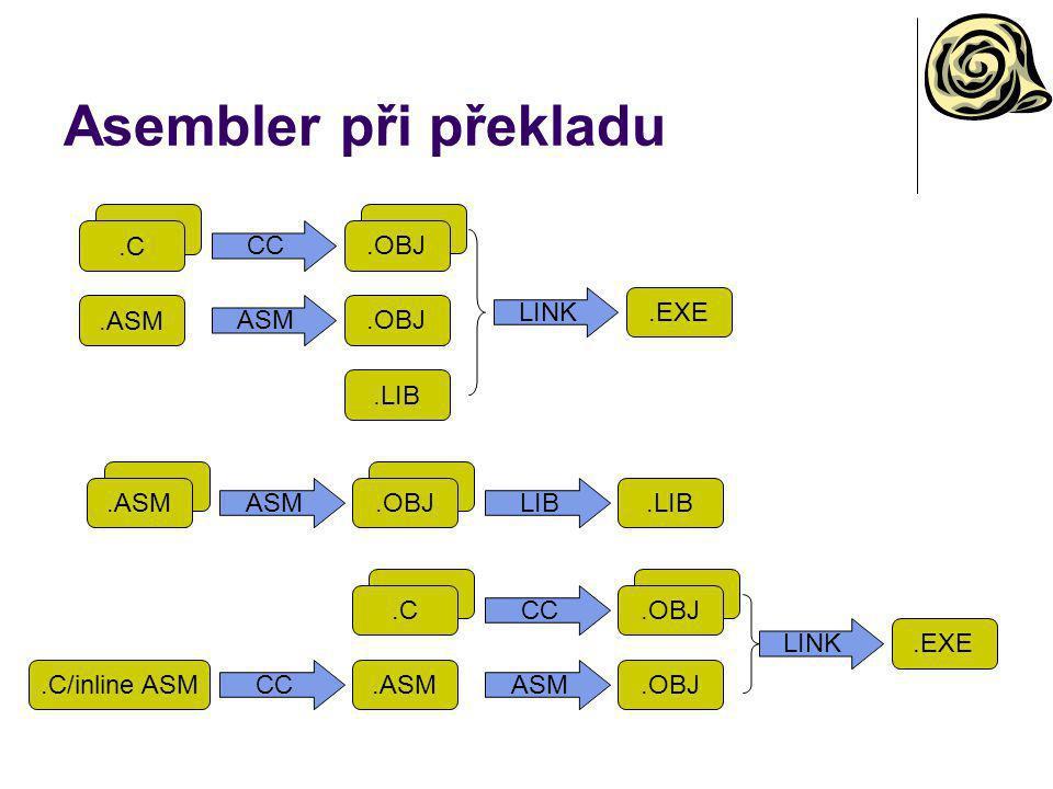 Asembler při překladu .C .ASM CC ASM .OBJ LINK .EXE .LIB .ASM ASM .OBJ