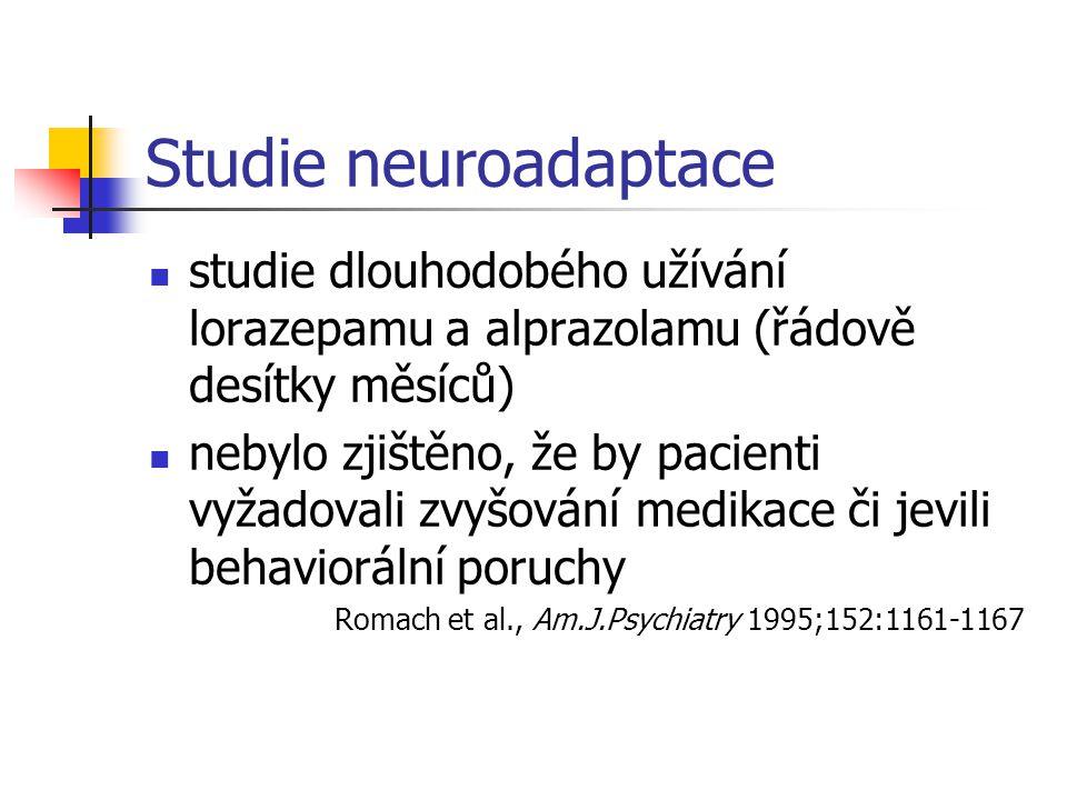 Studie neuroadaptace studie dlouhodobého užívání lorazepamu a alprazolamu (řádově desítky měsíců)