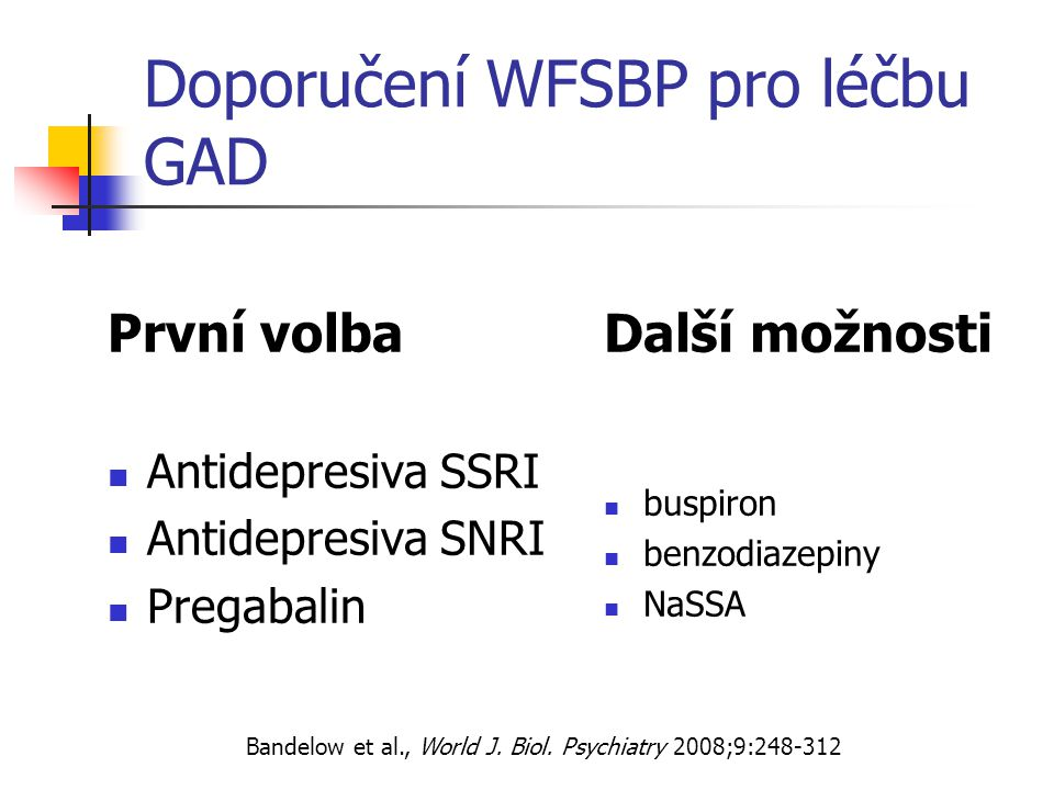 Doporučení WFSBP pro léčbu GAD