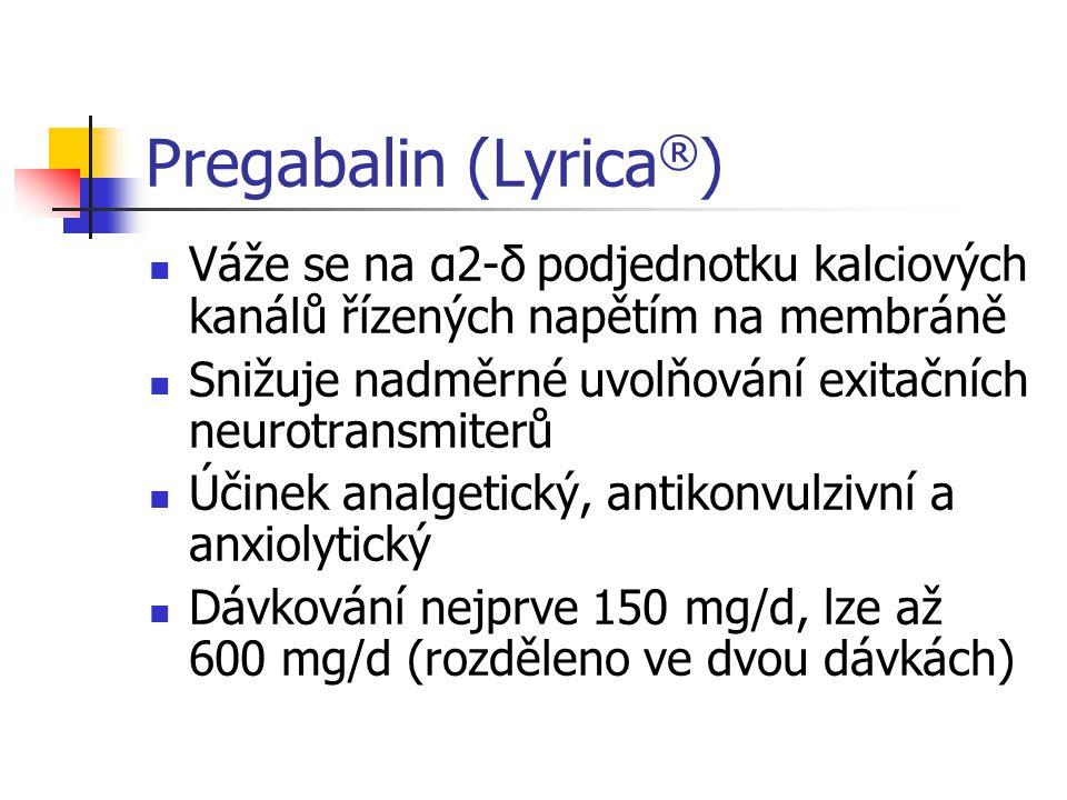 Pregabalin (Lyrica®) Váže se na α2-δ podjednotku kalciových kanálů řízených napětím na membráně.