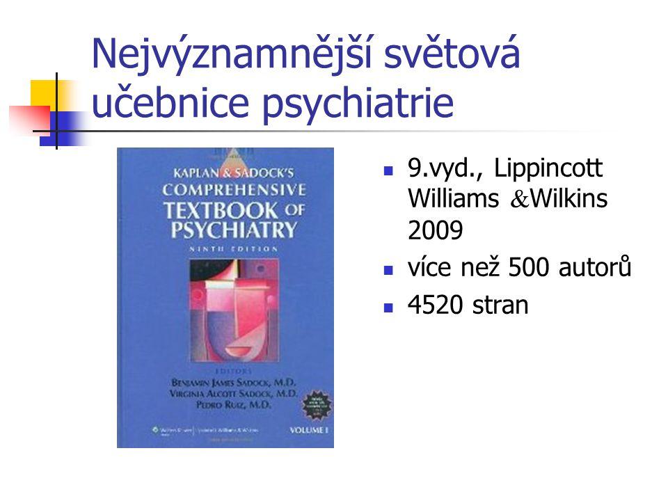 Nejvýznamnější světová učebnice psychiatrie