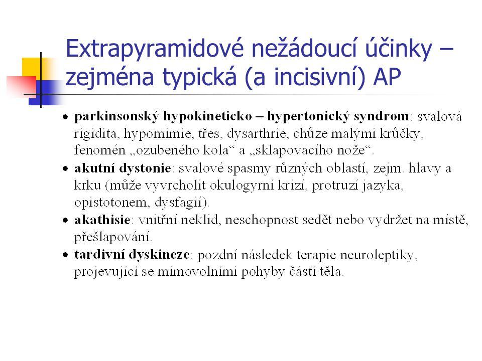 Extrapyramidové nežádoucí účinky – zejména typická (a incisivní) AP