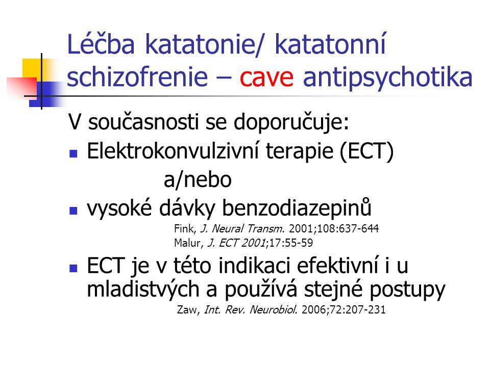 Léčba katatonie/ katatonní schizofrenie – cave antipsychotika