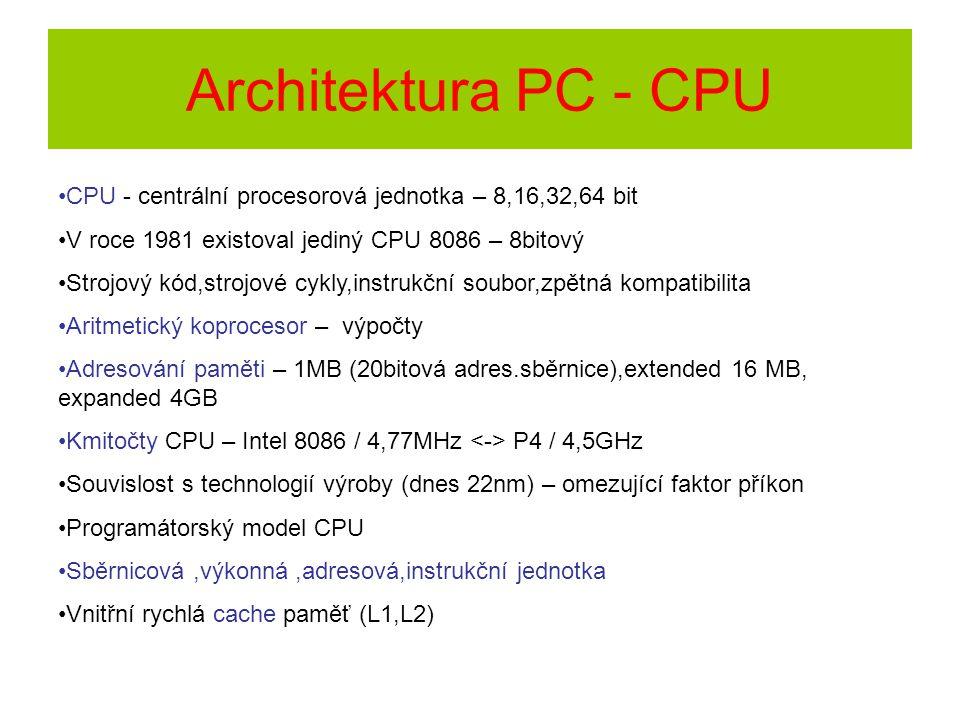 Architektura PC - CPU CPU - centrální procesorová jednotka – 8,16,32,64 bit. V roce 1981 existoval jediný CPU 8086 – 8bitový.