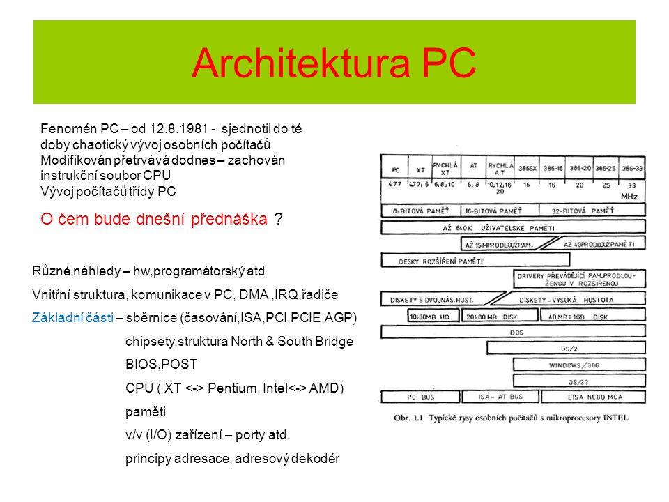 Architektura PC O čem bude dnešní přednáška