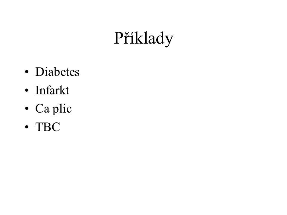 Příklady Diabetes Infarkt Ca plic TBC