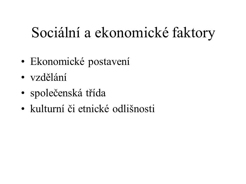 Sociální a ekonomické faktory